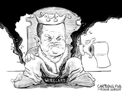 Karikatur, Cartoon: Olaf Scholz Wirecard-Betrug © Roger Schmidt