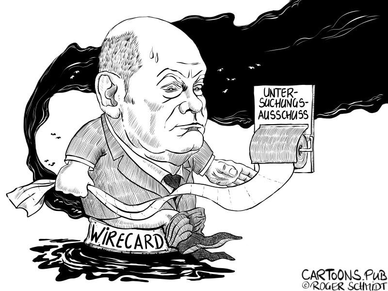Karikatur, Cartoon: Untersuchungsausschuss Wirecard © Roger Schmidt