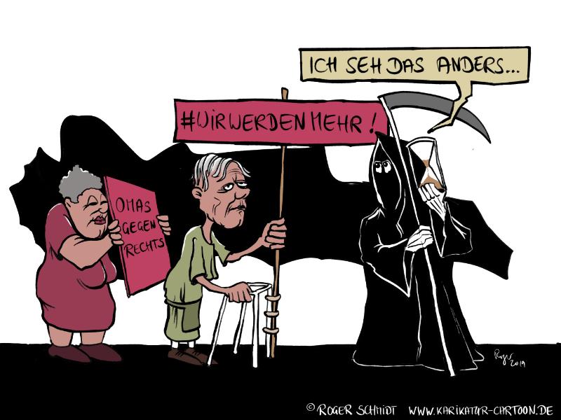 Karikatur, Cartoon: Omas gegen Rechts, © Roger Schmidt