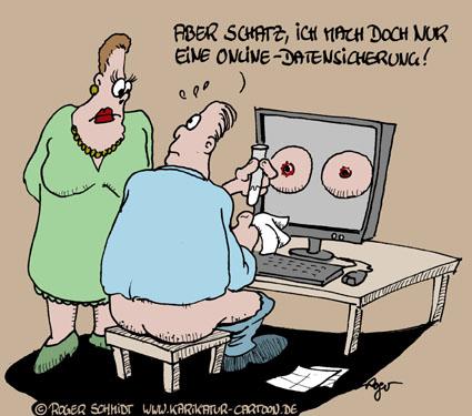 Karikatur, Cartoon: Datensicherung Online, © Roger Schmidt