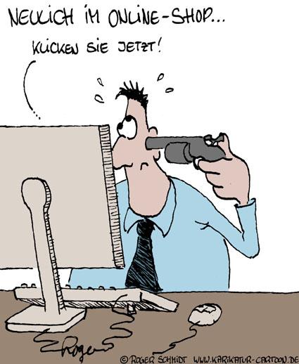 Karikatur, Cartoon: Online-Shop, © Roger Schmidt