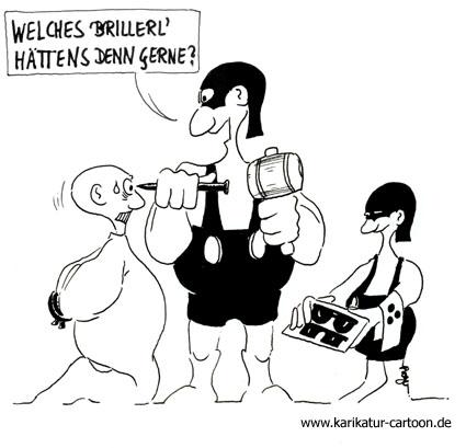 Karikatur, Cartoon: Optiker, © Roger Schmidt