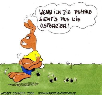 Karikatur, Cartoon: Ostereier, © Roger Schmidt