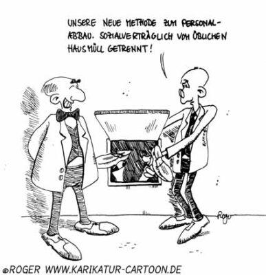 Karikatur, Cartoon: Outsourcing, © Roger Schmidt