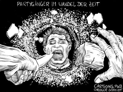 Karikatur, Cartoon: Partygänger im Wandel der Zeit © Roger Schmidt