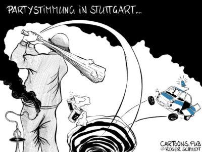 Karikatur, Cartoon: Partystimmung in Stuttgart © Roger Schmidt