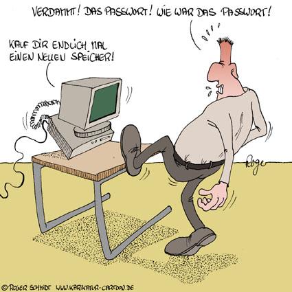 Karikatur, Cartoon: Passwort vergessen, © Roger Schmidt