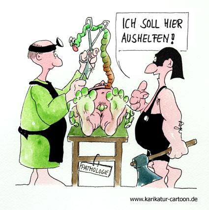 Karikatur, Cartoon: Pathologe, © Roger Schmidt