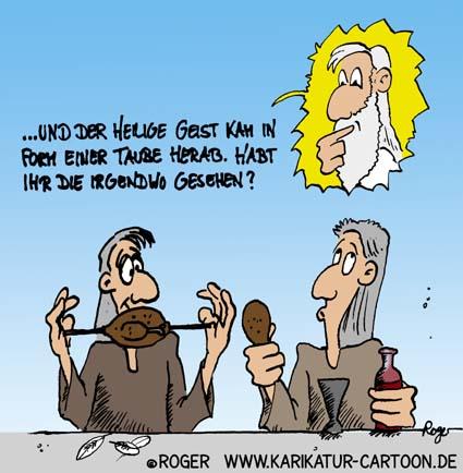 Karikatur, Cartoon: Pfingsten und der Heilige Geist, © Roger Schmidt