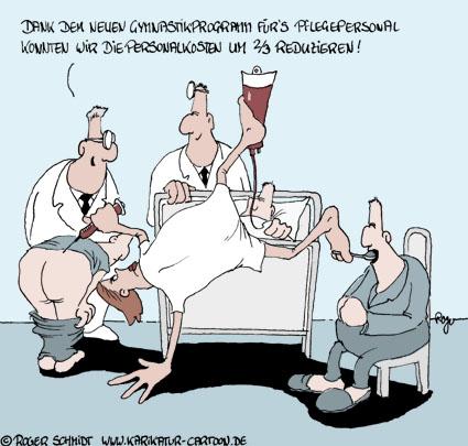 Karikatur, Cartoon: Ambulanter Pflegedienst, © Roger Schmidt