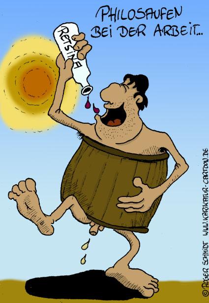 Karikatur, Cartoon: Der glückliche Philosoph, © Roger Schmidt