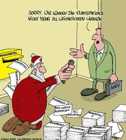 Karikatur, Cartoon: Playstation 3, © Roger Schmidt