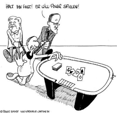Karikatur, Cartoon: Poker spielen, © Roger Schmidt