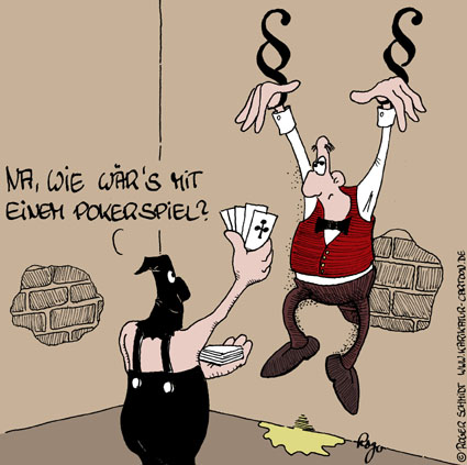 Karikatur, Cartoon: Pokerspiel, © Roger Schmidt