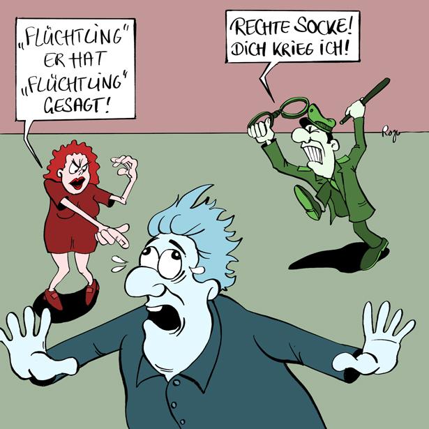 Karikatur, Cartoon: Die Political Correctness, © Roger Schmidt