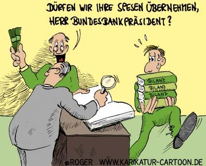 Karikatur, Cartoon: Bundesbank Spenden, © Roger Schmidt