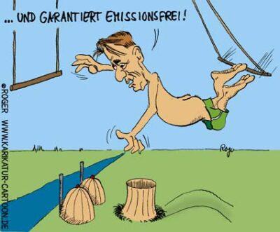 Karikatur, Cartoon: Trittin und der Emissionshandel, © Roger Schmidt