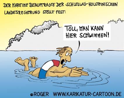 Karikatur, Cartoon: Maritime Banalitäten in Schleswig-Holstein, © Roger Schmidt