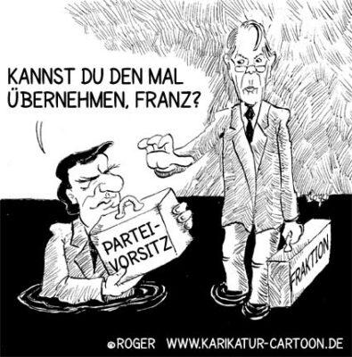 Karikatur, Cartoon: Parteivorsitz Schröder Münterfering, © Roger Schmidt