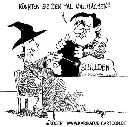 Karikatur, Cartoon: Glücksspiel und Schulden, © Roger Schmidt