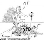 Karikatur, Cartoon: Stierkampf mit Ole von Beust, © Roger Schmidt