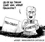 Karikatur, Cartoon: Stolpe und sein Toll-Collect, © Roger Schmidt