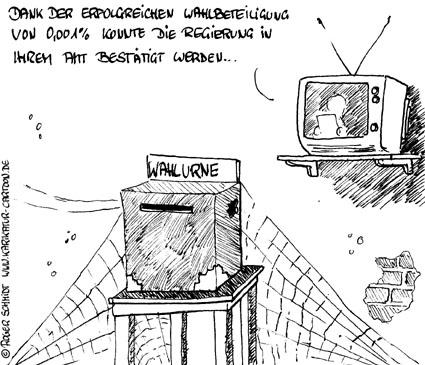 Karikatur, Cartoon: Politikverdrossenheit, © Roger Schmidt