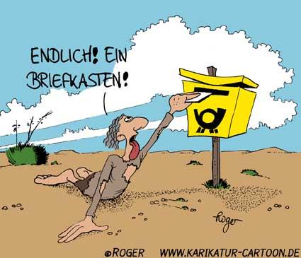 Karikatur, Cartoon: Postagentur, © Roger Schmidt