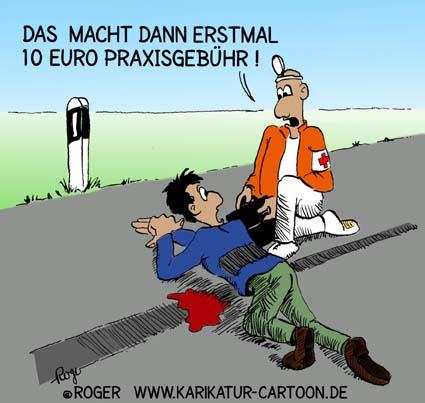 Karikatur, Cartoon: Praxisgebühr, © Roger Schmidt