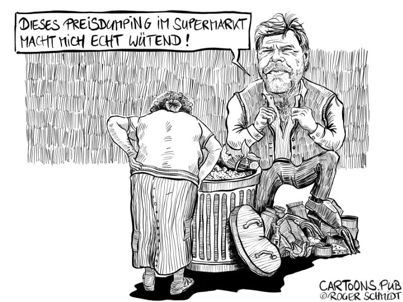 Karikatur, Cartoon: Preisdumping im Supermarkt © Roger Schmidt