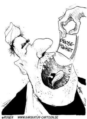 Karikatur, Cartoon: Pressefreiheit, © Roger Schmidt