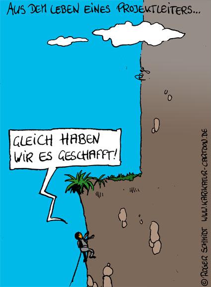 Karikatur, Cartoon: Projektleiter Aufgaben, © Roger Schmidt