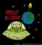 Karikatur, Cartoon: Prost Neujahr, © Roger Schmidt