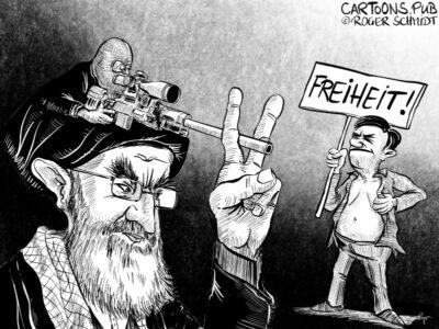 Karikatur, Cartoon: Proteste im Iran © Roger Schmidt