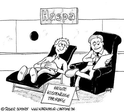 Karikatur, Cartoon: Psychologische Betreuung durch Haspa, © Roger Schmidt