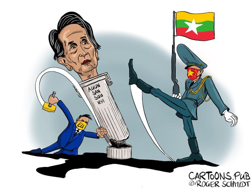 Karikatur, Cartoon: Putsch in Myan Mar © Roger Schmidt