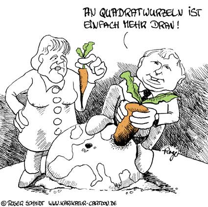 Karikatur, Cartoon: Quadratwurzel, © Roger Schmidt