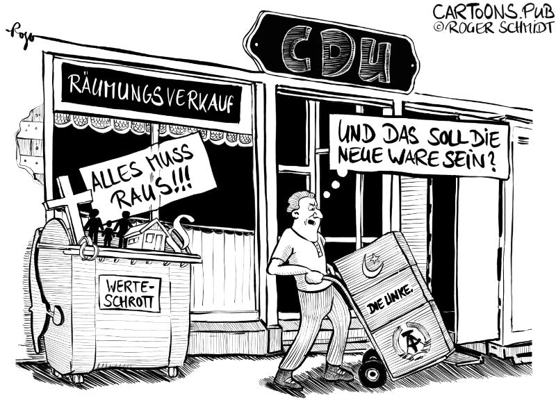 Karikatur, Cartoon: Räumungsverkauf der CDU © Roger Schmidt