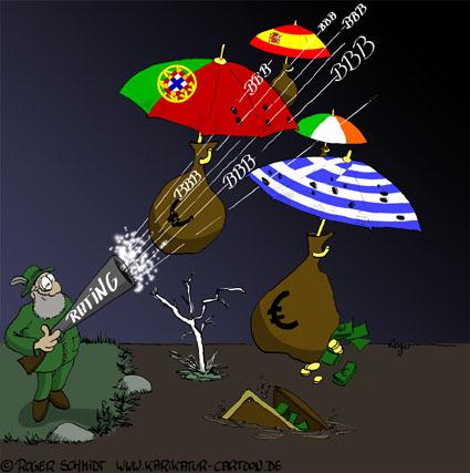 Karikatur, Cartoon: Rating-Agentur, © Roger Schmidt