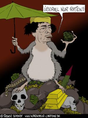 Karikatur, Cartoon: Die Ratten des Gadaffi, © Roger Schmidt