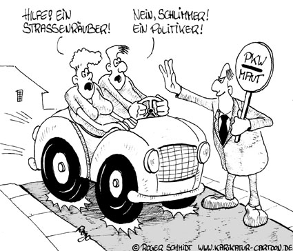 Karikatur, Cartoon: Raubritter, © Roger Schmidt