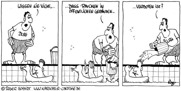 Karikatur, Cartoon: Rauchverbot, © Roger Schmidt