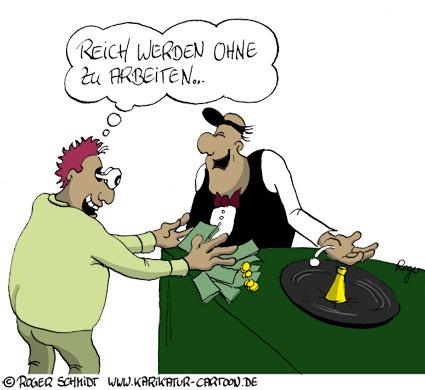 Karikatur, Cartoon: Reich werden ohne zu arbeiten, © Roger Schmidt