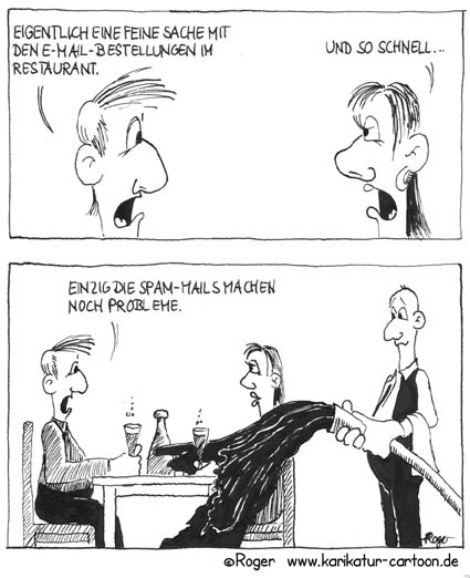 Karikatur, Cartoon: Restaurant, © Roger Schmidt