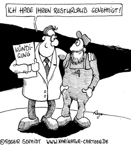 Karikatur, Cartoon: Resturlaub bei Kündigung, © Roger Schmidt