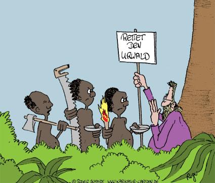 Karikatur, Cartoon: Rettet den Urwald, © Roger Schmidt