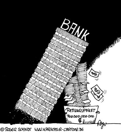Karikatur, Cartoon: Rettungspaket und die US-Finanzkrise, © Roger Schmidt