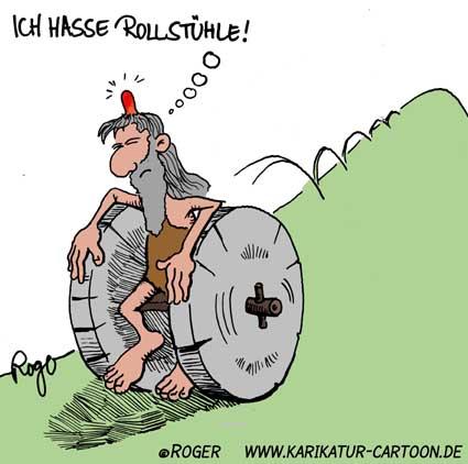 Karikatur, Cartoon: Rollstuhl, © Roger Schmidt