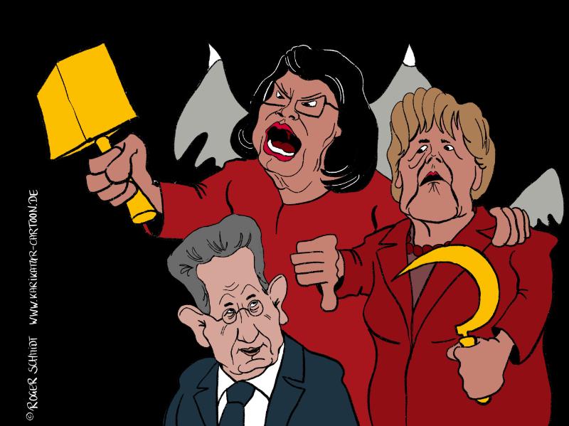 Karikatur, Cartoon: Die roten Schwestern, © Roger Schmidt