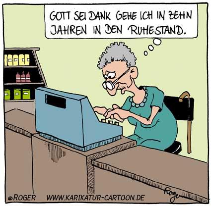 Karikatur, Cartoon: Ruhestand, © Roger Schmidt